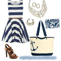 Canvas Crew Tote in Navy Anchor & Perfect Cents Wallet in Navy Playful Parade www.mythirtyone.com/drbrown