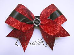 Classy Glitz Glitter Cheer Bow in Red and by desarosebowtique