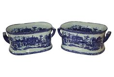 One Kings Lane - Blue & White Chinese Foot Baths, Pair