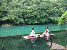 Floating island picnic!  Volando Urai Spring & Spa Resort in #taiwan!