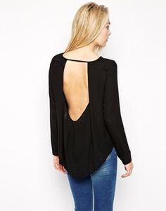 Black Long Sleeve Cutout Backless Vero Moda Blouse With Open Back Top @ ASOS $40