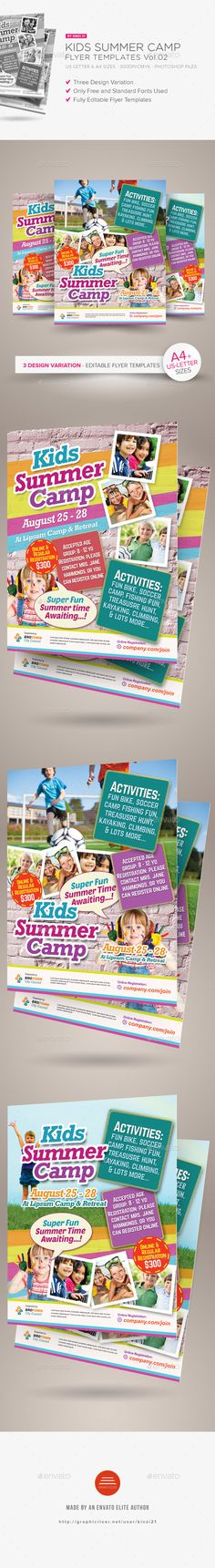 Fun Poster Templates Kid Summer Camp Flyer  Flyer Printing Print Templates And Fonts