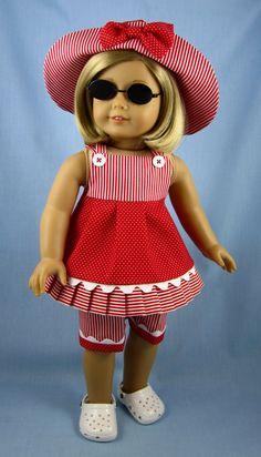 American Girl Doll Clothes Three Piece by SewMyGoodnessShop by Mudgey - American Girl Dolls Sewing Doll Clothes, Girl Doll Clothes, Doll Clothes Patterns, Clothing Patterns, Girl Dolls, Doll Patterns, Ag Dolls, American Girl Outfits, American Doll Clothes