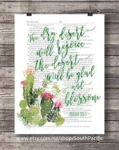 Bible verse The dry desert Scripture print cactus flower Isaiah watercolor art print Bible journaling art desert flower wall art Watercolor calligraphy over a reprod. Scripture Art, Bible Art, Bible Verses Quotes, Art Quotes, Scriptures, Journaling, Cactus Flower, Flower Wall, Cactus Cactus