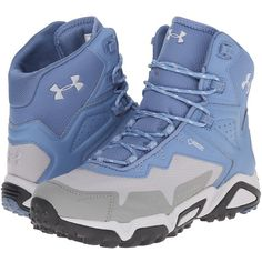 Under Armour UA Tabor Ridge Mid (Thunder/Storm/Aluminum) Women's... ($90) ❤ liked on Polyvore featuring shoes, athletic shoes, blue, under armour shoes, light weight hiking boots, waterproof athletic shoes, water proof shoes and under armour