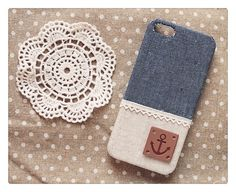Diy Handmade Cloth Art Phone Case no.95c Denim color with Anchor for Apple iPhone 5 4 S 4S 3GS i Pod Touch 5 4 Nokia Lumia 928 920 900 820