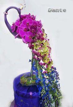 Peacock inspired floral arrangement