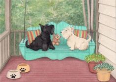 Wheatie and scottie share a porch swing / Lynch by watercolorqueen, $12.99