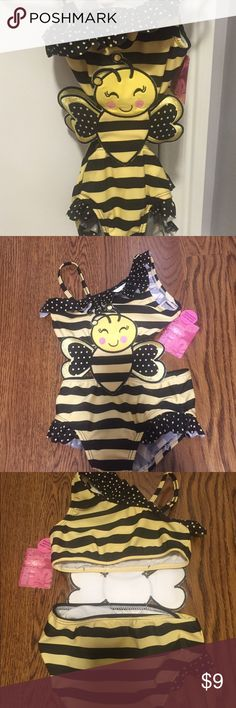 NWT bumble bee swimsuit size 4T NWT adorable bumble bee Bahia suit.  Suit is one piece but has the cutest cut out on sides and back.  Beautiful ruffles and one should design with other shoulder having spaghetti strap support.  Two available. Brand new with protective cover in bottom. Joe Boxer  Swim