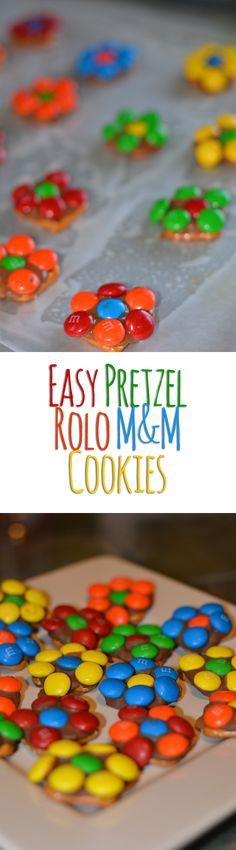 May Day Ideas - Pretzel Rolo M&M Flower Cookies!
