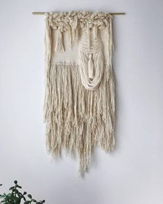if & when large handwoven wall hanging textural weaving