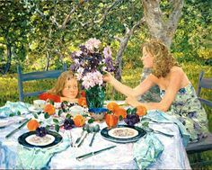 David P. Hettinger American Artist, Lunch in Orchard