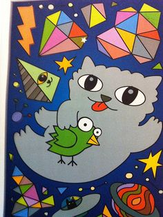 Postcrossing RU-698101 -This silly  fun cartoon drawing is one of my favorites!  Love the cat and bird in outer space! Sent by a Postcrosser in Russia.