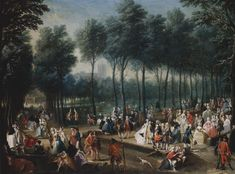 St James's Park and the Mall c.1745. This painting has something for everyone! Men in Kilts, Milkbars, flirting on a grand scale, men weeing against a fence, dog pooing, lady retying her garter. Click this link to get up close and personal with these earthy Georgians: http://gallery.nen.gov.uk/imagelarge680589-.html | Royal Collection Trust.