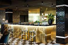Project Restaurant Lyon Claude Cartier Décoration - La Foret Noire - magic circus editions - thonet vienna - la chance - wall and deco - marble - brass - bar