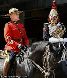Royal Canadian Mounted Police Sergeant Major Bill Stewart, left, talking with Staff Corporal Rupert Hackman of the Household Cavalry All About Canada, Meanwhile In Canada, English Gentleman, Hot Cops, Military Units, Police Uniforms, Canadian History, King And Country, O Canada