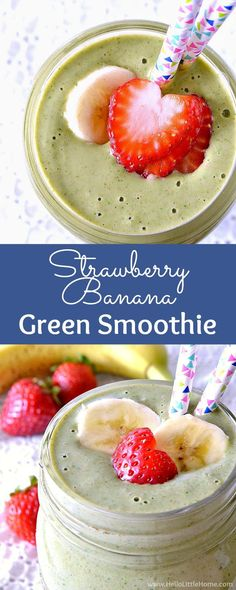 Wake up to a delicious, nutritious Strawberry Banana Green Smoothie! It's a tasty way to power your day and is a great green smoothie recipe for beginners! Yogurt Smoothies, Healthy Breakfast Smoothies, Strawberry Banana Spinach Smoothie, Healthy Breakfasts, Breakfast Fruit, Protein Smoothies, Paleo Breakfast, Green Breakfast Smoothie, Simple Smoothies