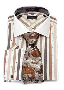 Steven Land Brown Dotted Stripe Dress Shirt & Big Knot Tie Combo - DS1117-BW63