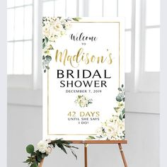 Shower Welcome Sign Bridal Shower Shower Welcome Cream Wedding Graphics, Bridal Shower Welcome Sign, Wedding Posters, White Backdrop, Cream Roses, Personalized Signs, Bridal Showers, Wedding Programs, Greenery