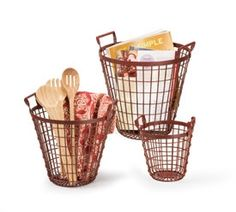 old school wire baskets for storage...how fun