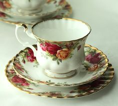 Royal Albert Old Country Roses trio of cup - I have one trio in this pattern - wouldn't mind a whole set!