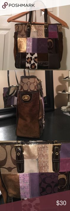 Vintage coach bag This 90s inspired coach bag is the perfect accessory to take from day to night. It has purple, cream, and tan  fabric patches to be mix and match with any look. Does have wear on the outside and inside. Dust bag included!! Coach Bags Shoulder Bags