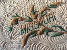 Vintage embroidery with machine quilting