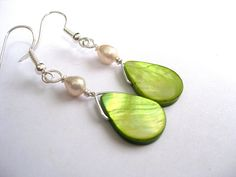 Pearl earrings Chartreuse teardrops bridal  by SunshineDaydreamz, $12.00