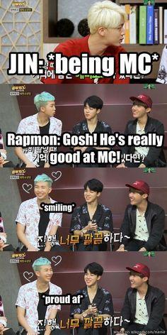 When Rapmon praise Jin as MC. Awww~ Namjin~