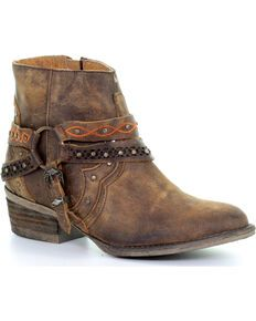 Roper Women's Brown Selah Booties - Round Toe - Country Outfitter Boots Cowboy, Short Cowgirl Boots, Kids Western Boots, Kids Boots, Short Boots, Cowgirl Outfits, Cowgirl Style, Boots For Short Women, Shoes