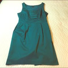 """Dark Teal Shift Dress Great condition classy Ann Taylor dress. ready to wear to work and then out for happy hour. Ruffles on chest add extra femininity. POCKETS! Freshly dry-cleaned. Hits at knee on me (I'm 6'2""""). Has snaps under the shoulder straps to hold your bra strap in place. Ann Taylor Dresses"""