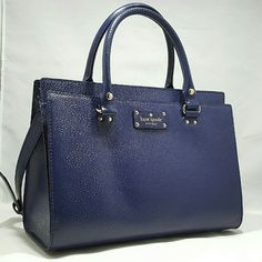 """⚠HPx2⚠kate spade Wellesley Durham Handbag Pics are of actual item for sale! French Navy. See pic 2 for closest color. Brand new w/ tags. L= 12.5"""" H= 9"""" W=6"""". Four metal feet on bottom. Outside slide pocket w/ magnetic snap. Zipper pocket inside.Two access pockets. Coordinating fabric lining. Adjustable strap, up to 23"""" Double strap drop:4.5"""". Brand new and perfect! Tags attached. Dustbag & Shopping bag! FINAL! kate spade Bags Shoulder Bags"""