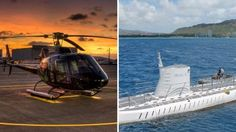 Helicopter Tour & Premium Submarine Dive Combo Package