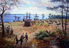 In this painting Construction of James Fort, colonists construct the original palisaded walls of the Jamestown, VA three-sided fort. This painting by Sidney King is courtesy of the National Park Service