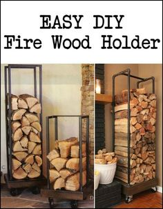Want a better storage for your firewood? You can use reclaimed or leftover lumber and old pipes in building this rustic fire wood holder. wood holder Build a fire wood holder from plumbing pipes Into The Woods, Wood Holder For Fireplace, Fireplace Logs, Easy Diy Projects, Wood Projects, Firewood Shed, Indoor Firewood Storage, Rustic Wine Racks, Diy Holz