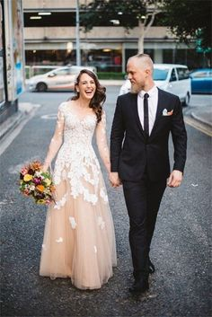 Lace Champagne Tulle Wedding Dress Bridal Gown Custom Size 4 6 8 10 12 14 16 18 | eBay