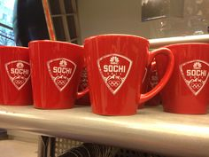 Limited time only!  This red latte mug sports the NBCOlympic & Sochi shield - sold exclusively at #NBCStoreNYC & #NBCStore.com.