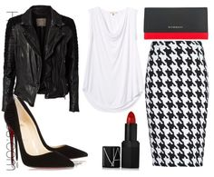 Total Bad Ass- black leather jacket, white top, black and white houndstooth pencil skirt, black heels, red lipstick
