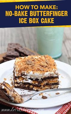 This No-Bake Butterfinger Ice Box Cake couldn't be any easier to make. Simply combine the crispety, crunchety, peanut-buttery taste of BUTTERFINGER® Fun Size candy bars with layers of butterscotch pudding, cream cheese, brown sugar, vanilla, graham crackers, and whipped topping. View the full dessert recipe by clicking here.