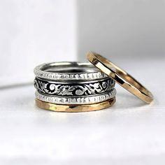 Gold und Silber Stapel Ringe gemischt Stapeln von bespokenjewelry