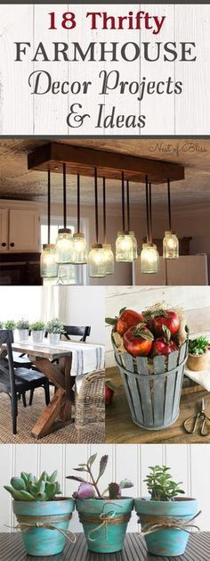 Kitchen Decor Farmhouse decor ideas that will inspire you! - Create a farmhouse feel in your home with these DIY farmhouse decor ideas! Country Farmhouse Decor, Rustic Decor, Farmhouse Style, Modern Farmhouse, Farmhouse Ideas, Farmhouse Design, Country Living, Farmhouse Nashville, Table Farmhouse
