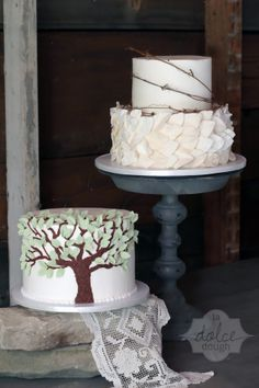 - Leaf and Grapevine 2 tier wedding cake and Tree groom's cake (to match the invitation and reflect the symbolism of the oak tree they were married under)