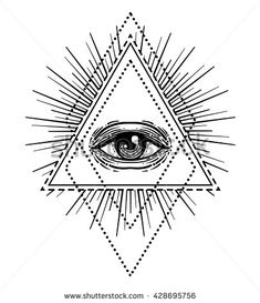All Seeing Eye Inside Triangle Pyramid New World Order Sacred Geometry Religion Spirituality Occultism Isolated Vector Illustration