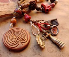 Labyrinth Handheld Spirit Beads for Prayer and Meditation with Goddess Amulets, Antique Trade Beads, Seeds, Gemstones, Pearls, and Wood