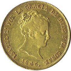 Moneda de oro 80 Reales Isabel II 1846 Sevilla.