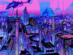 Vaporwave City by Pixel Art Gif, City Grid, Cyberpunk City, Futuristic City, Neo Tokyo, 8 Bit Art, Vaporwave Art, Neon Aesthetic, Retro Waves