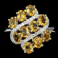 Natural Yellow Citrine & Cz Ring Sz 9