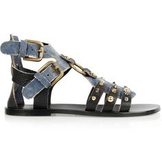 Dolce & Gabbana Leather and denim gladiator sandals ($215) found on Polyvore
