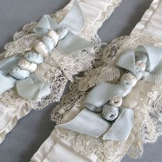 Pr Antique Flapper BRIDAL Garters SATIN French LACE Silk RIBBONWORK Roses c1920s