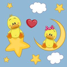 Illustration of Valentine card with Lovers Ducks vector art, clipart and stock vectors. Blue Nose Friends, Cute Friends, Funny Animal Pictures, Cute Pictures, Baby Animals, Cute Animals, Cute Clipart, Rock Crafts, Fabric Painting